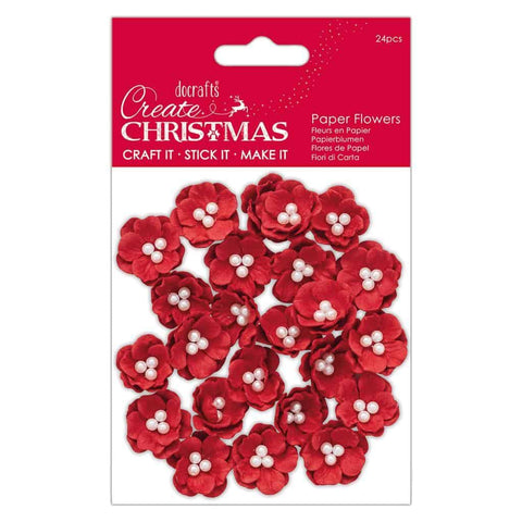 Papermania Paper Flowers - Pearl Blossoms Red