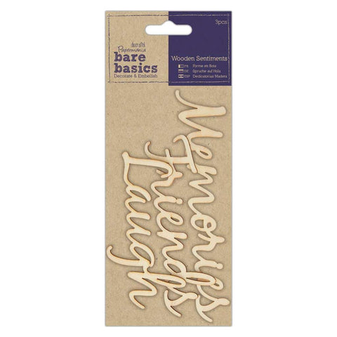 Papermania Wooden Sentiments - Bare Basics - Friends Laugh & Memories
