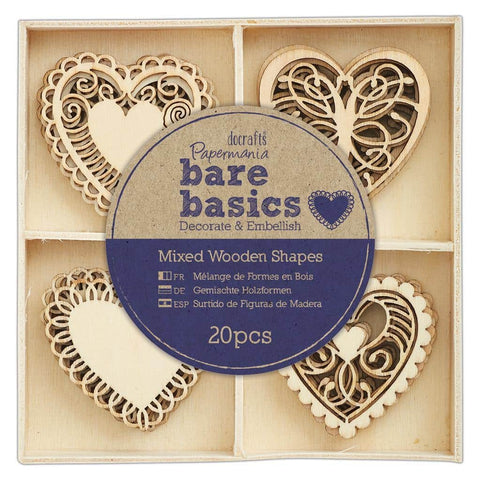 Papermania Wooden Shapes - Bare Basics - Filigree Heart