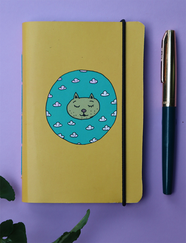Mini Pocket Book | Day Dreaming Cat - Little Green Trunk