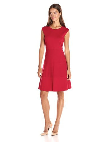Anne Klein Women's Ponte Cap Sleeve Fit and Flare