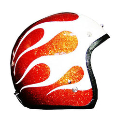 3 Tone Hotrod Flake Paint Ghost Flames Helmet - BUY CUSTOM HELMETS