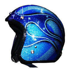 50 Shades Of Blue Hotrod Style New School Flake Paint - BUY CUSTOM HELMETS