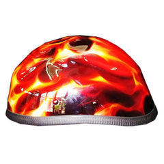 3D Skull Gold And Yellow Free Hand Paint Airbrush Half Cap Beanie Helmet - BUY CUSTOM HELMETS