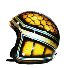 598 Blue Flames Florit Airbrush Paint Flake Helmet - BUY CUSTOM HELMETS