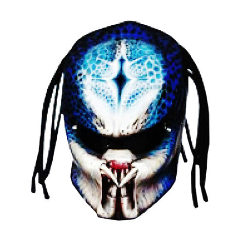 Blue/White Predator Motorcycle Helmet Custom DOT/ECE Approved - BUY CUSTOM HELMETS