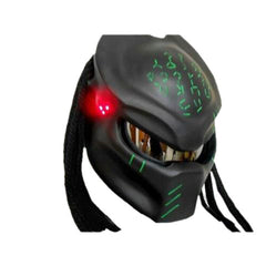 Black Predator Motorcycle Helmet with Green Alien Inscription+Red LED Custom DOT/ECE Approved - BUY CUSTOM HELMETS