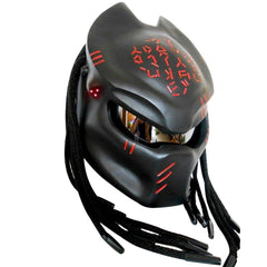 Predator Black Motorcycle Helmet with Red Alien Inscription Custom DOT/ECE Approved - BUY CUSTOM HELMETS