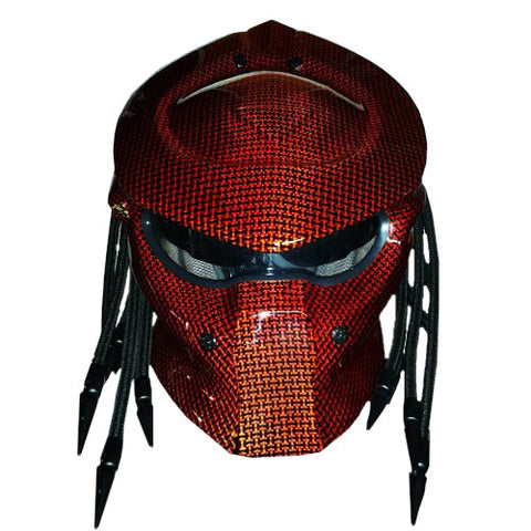 Predator Black Red Carbon Kevlar Motorcycle Helmet Custom DOT/ECE Approved - BUY CUSTOM HELMETS