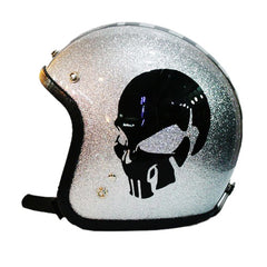 Black Skulls On Silver Flakes Bobber Rsd Helmet - BUY CUSTOM HELMETS