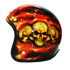 Brotherhood Of Skulls 3-4 Jet Hand Paint Airbrush Helmet - BUY CUSTOM HELMETS