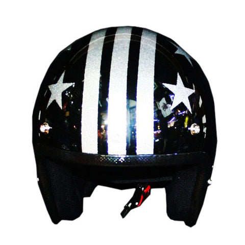 Captain America 3 Stars Willie Skull Stripe Silver Flake Helmet - BUY CUSTOM HELMETS