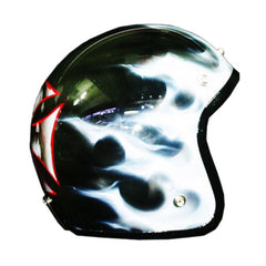 Cross Skull-White Flames 3-4 Jet Hand Paint Airbrush Helmet - BUY CUSTOM HELMETS