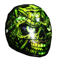 Electric Green Full Face Crash Airbrush Custom Motorcycle Helmet DOT/ECE Approved - BUY CUSTOM HELMETS