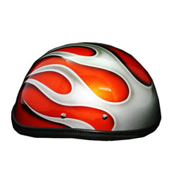 Free Hand Orange Paint Airbrush Half Cap Beanie Helmet - BUY CUSTOM HELMETS