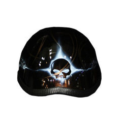 Gold Brown Hotrod Flames Free Hand Paint Airbrush Half Cap Beanie Helmet - BUY CUSTOM HELMETS