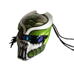 Predator Motorcycle Helmet Green/White Alien Custom DOT/ECE Approved - BUY CUSTOM HELMETS