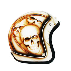Ivory Pin Striped And Skulls 3-4 Jet Hand Paint Airbrush Helmet - BUY CUSTOM HELMETS