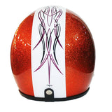 Orange Metal Flakes Pinstripe Helmet - BUY CUSTOM HELMETS
