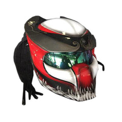 Red & White Predator Motorcycle Helmet Alien Custom DOT/ECE Approved - BUY CUSTOM HELMETS