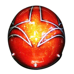 West Coast Iron Cross Silver Orange Hand Paint Helmet - BUY CUSTOM HELMETS