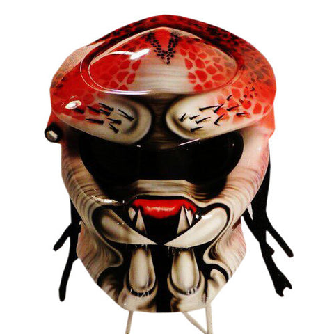 White Red Hand Paint Airbrush Predator Helmet - BUY CUSTOM HELMETS