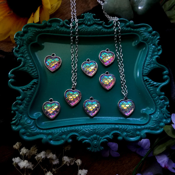 Rainbow Mermaid Heart Necklace - Pink - SacredDivination