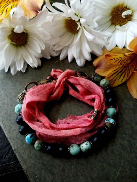 Boho Pink Sari Silk and Gemstone Wrap Bracelet - SacredDivination