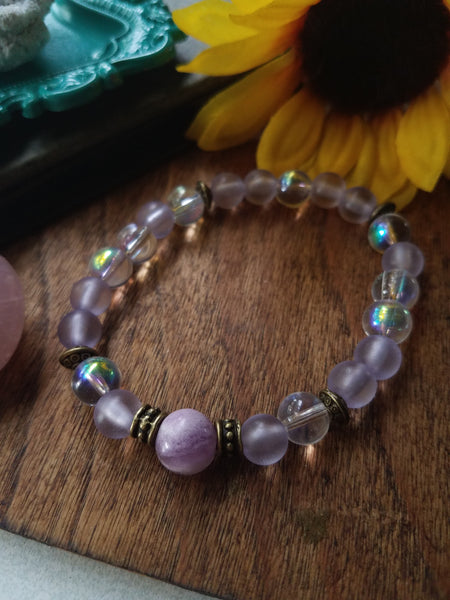 Aura Glass and Fluorite Wristlet Mala - SacredDivination