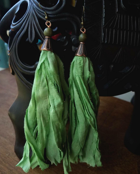 Green Sari Silk Boho Earrings - SacredDivination