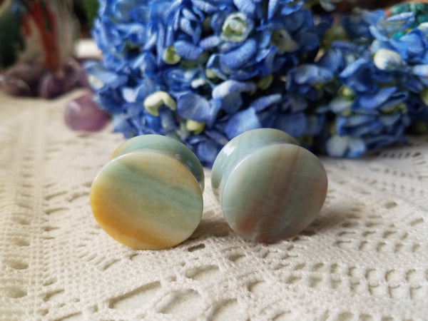 Amazonite Plugs - 1 inch - 25mm