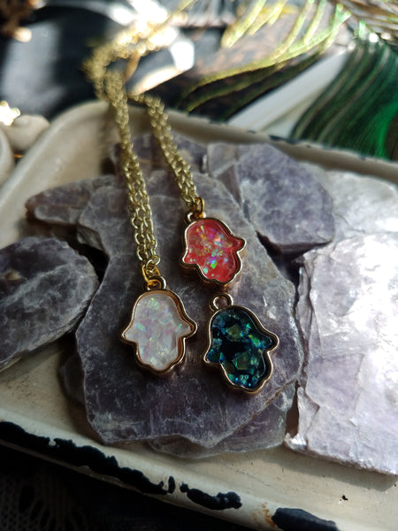 Faux Opal Golden Hamsa Necklace