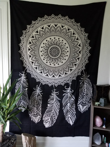Black and White Dreamcatcher Tapestry