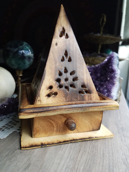 Wooden Temple Incense Burners