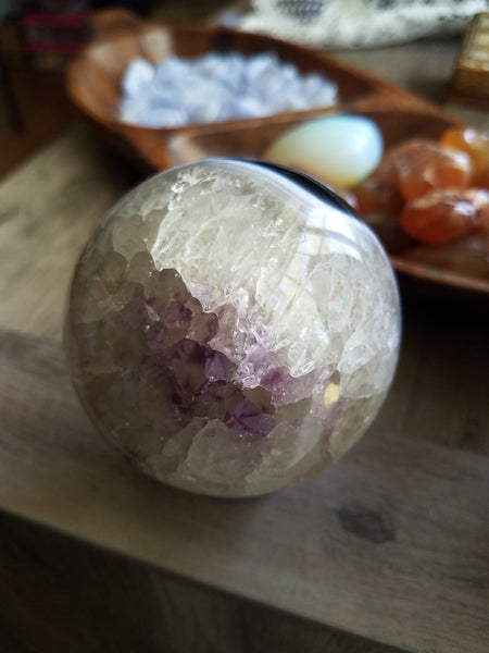 *Flash Sale* Amethyst and Black Agate Sphere