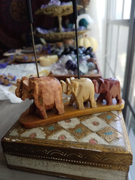 Soapstone Elephant Tribe Incense Burner