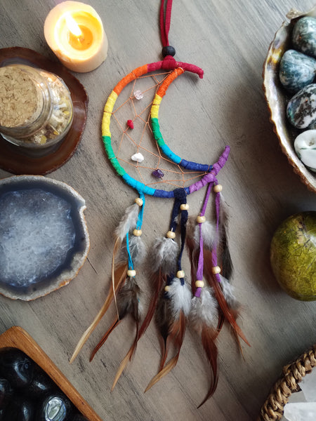 Rainbow Crescent Moon Dream Catcher