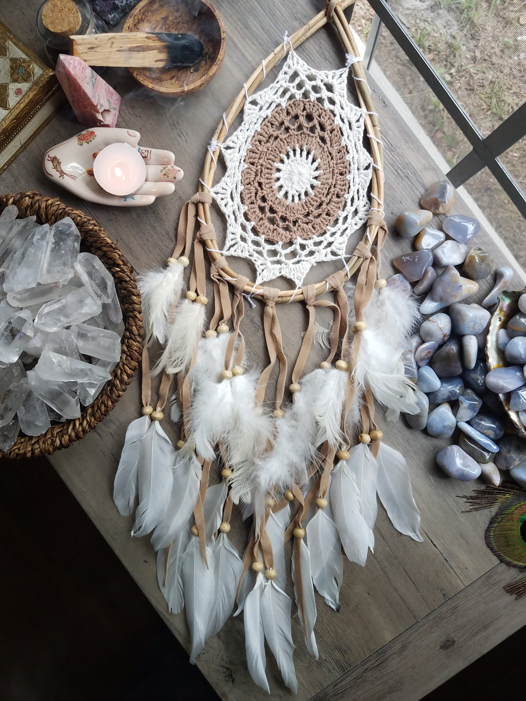 Wooden Droplet Dreamcatcher (multiple colors available)