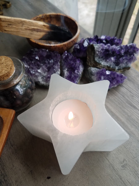 Selenite Star Candle Holders