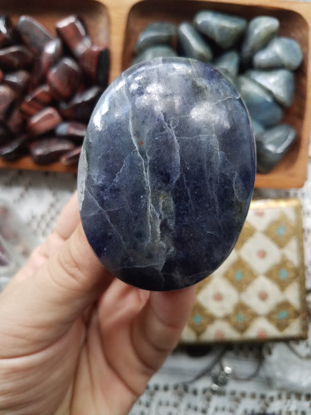 Iolite & Sunstone Palm Stone