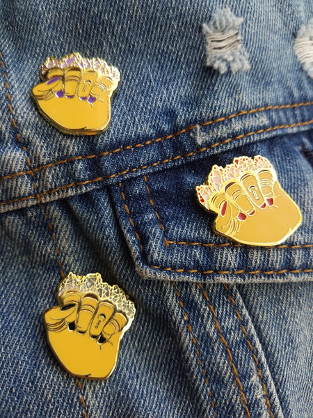 Crystal Knuckle Enamel Pins
