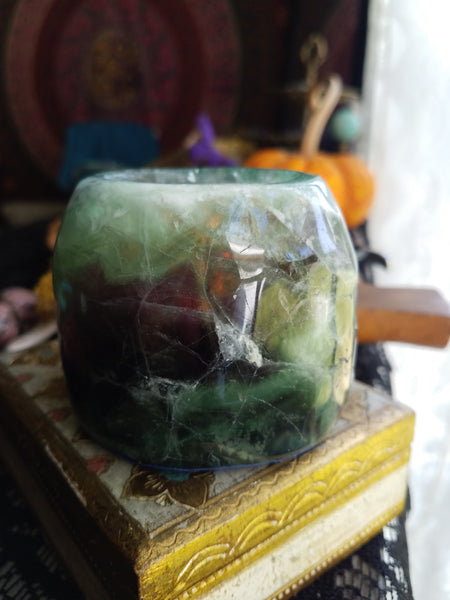 Multicolored Fluorite Candle Holder