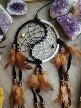 Load image into Gallery viewer, Brown, Black & White Yin Yang Dreamcatcher