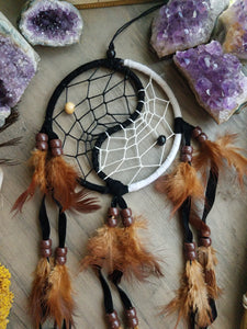 Brown, Black & White Yin Yang Dreamcatcher