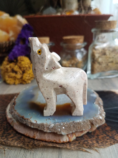 Large Soapstone Wolf Carving