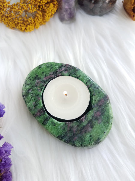 Ruby Zoisite Candle Holder
