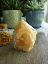 Load image into Gallery viewer, Semi Polished Orange Calcite Tower