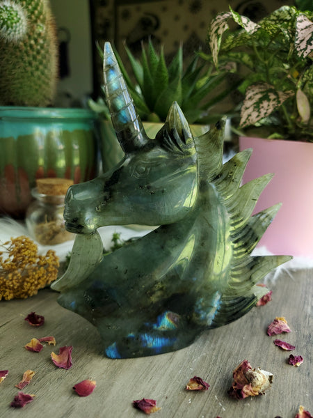 Labradorite Unicorn Carving