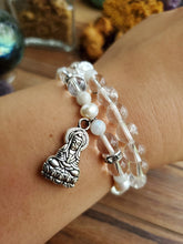 Load image into Gallery viewer, Rainbow Moonstone & Kuan Yin Bracelet