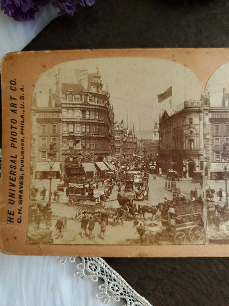 Antique Stereoscopic Photo ~ Piccadilly Circus, London